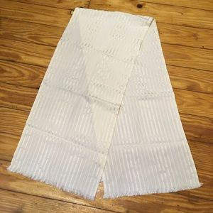 Christian Dior Vintage White Silk Long Scarf